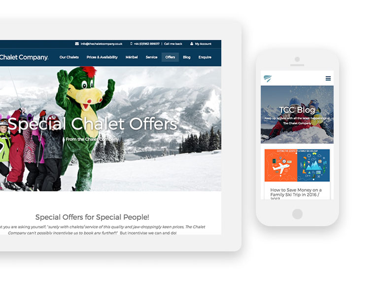 The Chalet Company website mobile and tablet