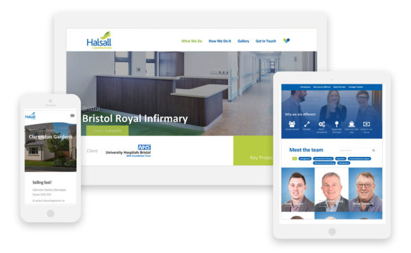 Halsall construction responsive website on devices, 3 construction websites