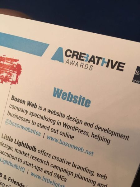 Boson Web Finalists of Bath Creative Awards