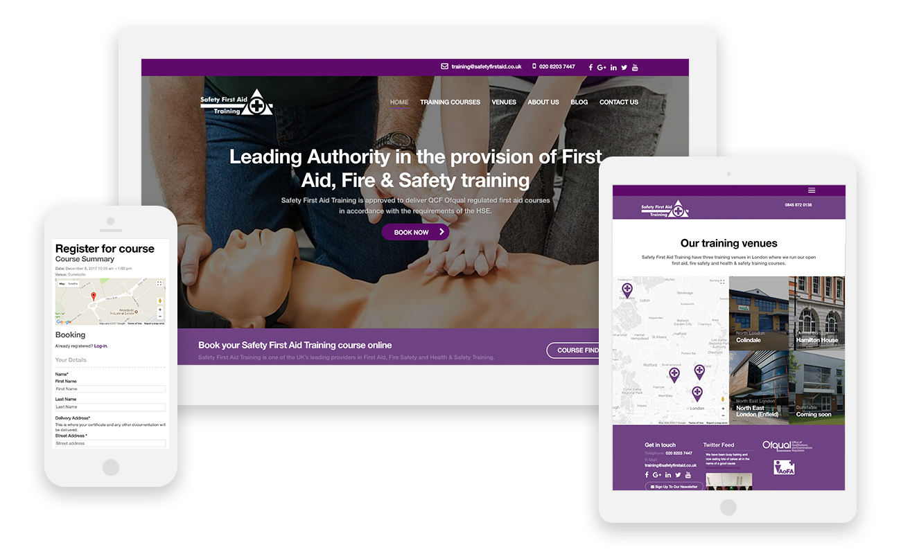Safety First Aid Training Website Design