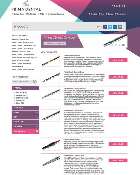 prima dental manufacturing website design
