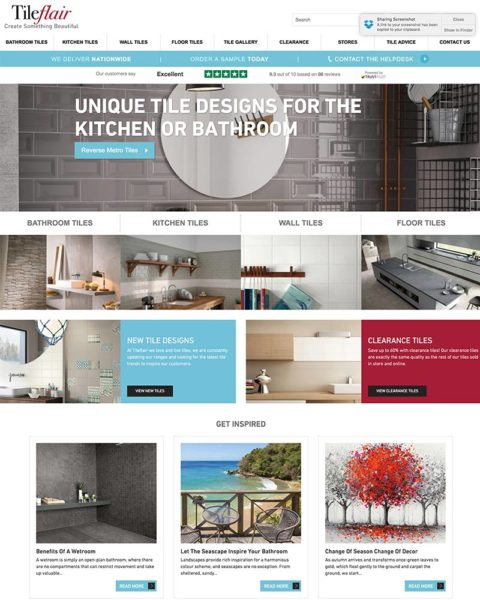 tileflair ecommerce website design