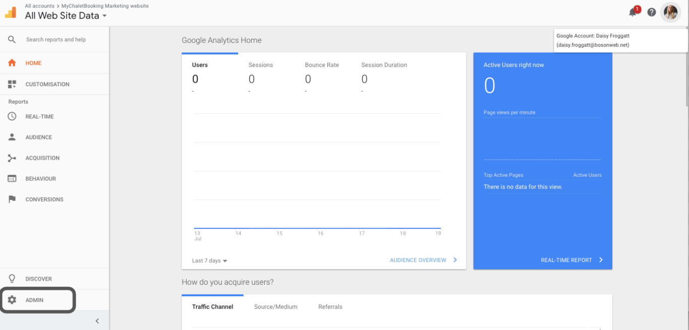 How to transfer a google analytics account to another user profile or email address? - Boson Web, Wiltshire, Bath, Bristol