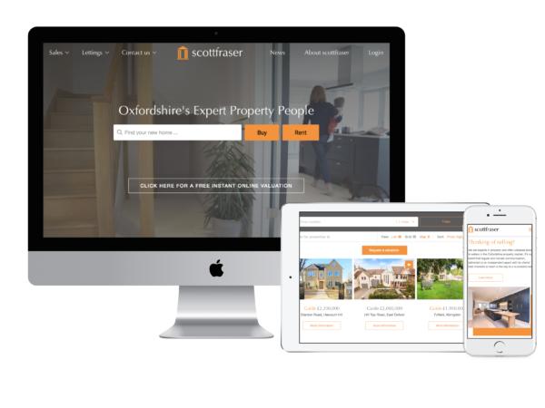 New Scottfraser website built by Boson Web, Estate agents/ property web design. Scottfraser based in Oxford