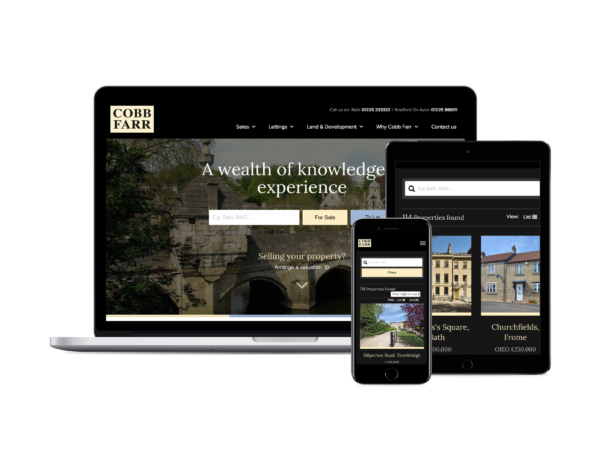 Boson Web built and designed the new Cobb Farr, estate agents website in Bradford-on-Avon and Bath